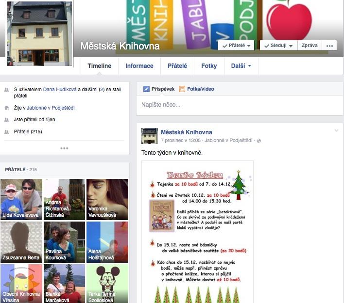 """Knihovna vystupuje na Facebooku jako profil, """"člověk"""". Pro malé knihovny to může být řešení, větší by si měly založit v souladu s pravidly Facebooku stránku."""