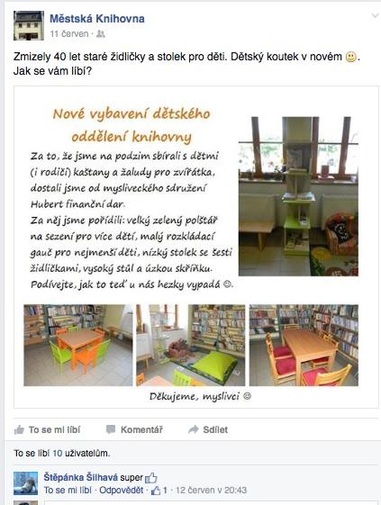 Nový nábytek v dětském oddělení lajkovalo na Facebooku 10 lidí. Dalších 10 se ale přišlo podívat a komentovalo to naživo.